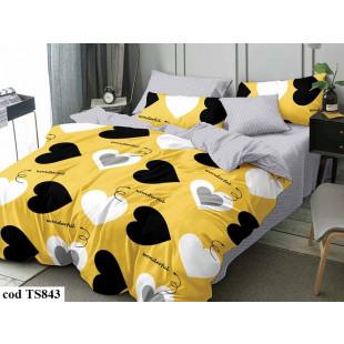 Lenjerie de pat bumbac finet, cu 3 piese, pentru 1 persoana, L'atelier Creatif Pucioasa - Nadina