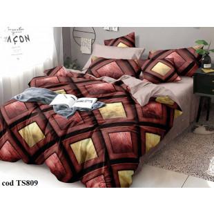 Lenjerie de pat bumbac finet, cu 4 piese, pentru 1 persoana, L'atelier Creatif Pucioasa - Cora