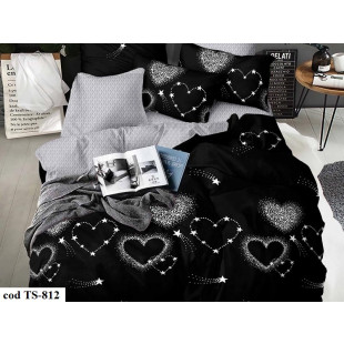 Lenjerie de pat bumbac finet, cu 4 piese, pentru 1 persoana, L'atelier Creatif Pucioasa - Dora