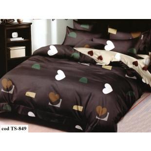 Lenjerie de pat bumbac finet, cu 4 piese, pentru 1 persoana, L'atelier Creatif Pucioasa - Dorothea