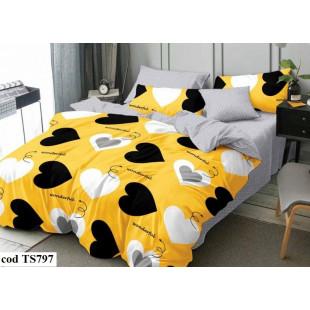 Lenjerie de pat bumbac finet, cu 4 piese, pentru 1 persoana, L'atelier Creatif Pucioasa - Eunice
