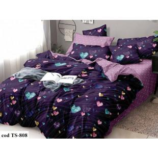Lenjerie de pat bumbac finet, cu 4 piese, pentru 1 persoana, L'atelier Creatif Pucioasa - Lina