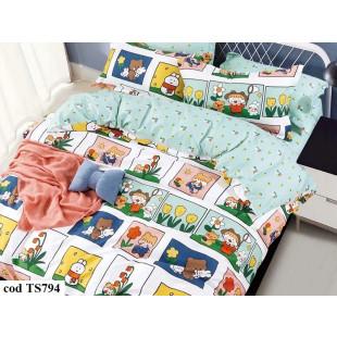 Lenjerie de pat bumbac finet, cu 4 piese, pentru 1 persoana, L'atelier Creatif Pucioasa - Lisa