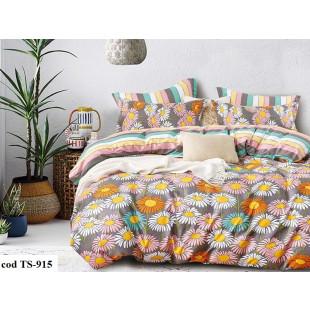 Lenjerie de pat bumbac finet, cu 4 piese, pentru 1 persoana, L'atelier Creatif Pucioasa - Lorelai