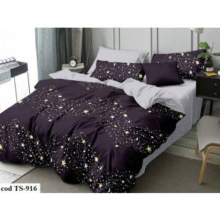Lenjerie de pat bumbac finet, cu 4 piese, pentru 1 persoana, L'atelier Creatif Pucioasa - Lorena