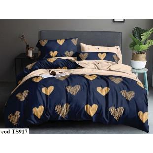 Lenjerie de pat bumbac finet, cu 4 piese, pentru 1 persoana, L'atelier Creatif Pucioasa - Sarah