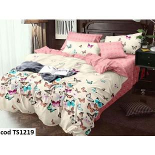 Lenjerie de pat bumbac finet, cu 4 piese, pentru 1 persoana, L'atelier Creatif Pucioasa