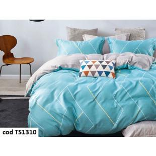 Lenjerie de pat bumbac finet, cu 4 piese, pentru 1 persoana, L'atelier Creatif Pucioasa - Anelys