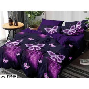Lenjerie de pat bumbac finet, cu 4 piese, pentru 2 persoane, Dormy Pucioasa - Hortensia