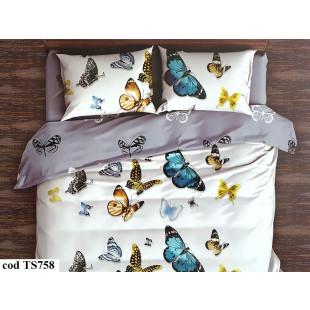 Lenjerie de pat bumbac finet, cu 4 piese, pentru 2 persoane, L'atelier Creatif Pucioasa - Anays