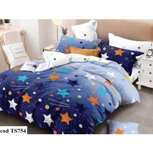 Lenjerie de pat bumbac finet, cu 4 piese, pentru 2 persoane, L'atelier Creatif Pucioasa - Luna