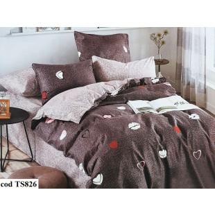 Lenjerie de pat bumbac finet, cu 4 piese, pentru 2 persoane, L'atelier Creatif Pucioasa - Molly