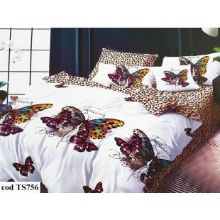 Lenjerie de pat bumbac finet, cu 4 piese, pentru 2 persoane, L'atelier Creatif Pucioasa - Paula
