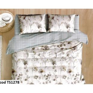 Lenjerie de pat bumbac finet, cu 4 piese, pentru 2 persoane, Pucioasa