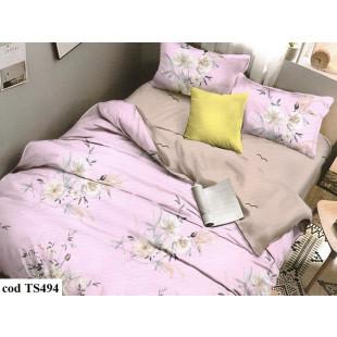 Lenjerie de pat bumbac finet, cu 6 piese, pentru 2 persoane, Dormy Pucioasa - Lucia