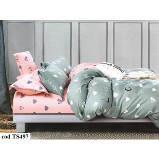 Lenjerie de pat bumbac finet, cu 6 piese, pentru 2 persoane, Dormy Pucioasa - Luna