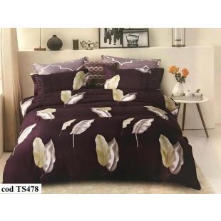 Lenjerie de pat bumbac finet, cu 6 piese, pentru 2 persoane, Dormy Pucioasa - Nella