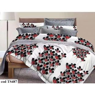 Lenjerie de pat bumbac finet, cu 6 piese, pentru 2 persoane, Dormy Pucioasa - Simina