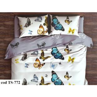 Lenjerie de pat bumbac finet, cu 6 piese, pentru 2 persoane, L'atelier Creatif Pucioasa - Carmina