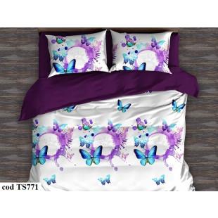 Lenjerie de pat bumbac finet, cu 6 piese, pentru 2 persoane L'atelier Creatif Pucioasa - Caroline