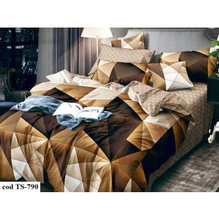 Lenjerie de pat bumbac finet, cu 6 piese, pentru 2 persoane, L'atelier Creatif Pucioasa - Ella