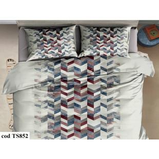 Lenjerie de pat bumbac finet, cu 6 piese, pentru 2 persoane, L'atelier Creatif Pucioasa - Fania
