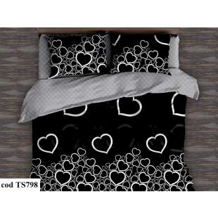 Lenjerie de pat bumbac finet, cu 6 piese, pentru 2 persoane, L'atelier Creatif Pucioasa - Krina
