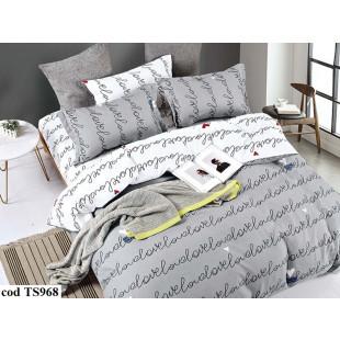 Lenjerie de pat bumbac finet, cu 6 piese, pentru 2 persoane, L'atelier Creatif Pucioasa - Lidia
