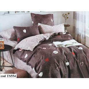 Lenjerie de pat bumbac finet, pentru 1 persoana, cu 4 piese, L'atelier Creatif Pucioasa - Cafeo