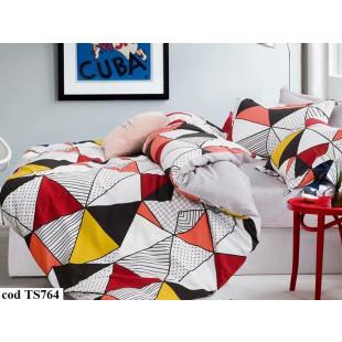 Lenjerie de pat bumbac finet, pentru 1 persoana, cu 4 piese, L'atelier Creatif Pucioasa - Monik