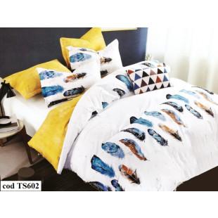 Lenjerie de pat bumbac finet, pentru 1 persoana, cu 4 piese, L'atelier Creatif Pucioasa - Raisa