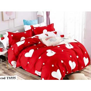 Lenjerie de pat bumbac finet, pentru 1 persoana, cu 4 piese, L'atelier Creatif Pucioasa - Sonia