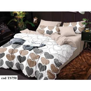 Lenjerie de pat bumbac finet, pentru 1 persoana, cu 4 piese, L'atelier Creatif Pucioasa - Tessa