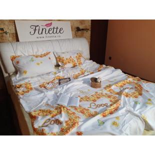 Lenjerie de pat bumbac finet, pentru 2 persoane, cu 4 piese