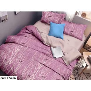 Lenjerie de pat bumbac finet, pentru 2 persoane, cu 4 piese, L'atelier Creatif Pucioasa - Dalia