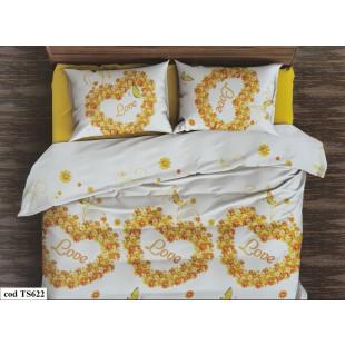 Lenjerie de pat bumbac finet, pentru 2 persoane, cu 4 piese, L'atelier Creatif Pucioasa - Gloria