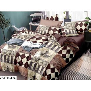 Lenjerie de pat bumbac finet, pentru 2 persoane, cu 4 piese, L'atelier Creatif Pucioasa - Regina