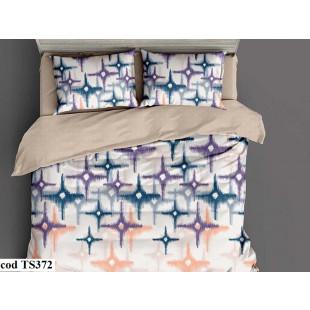 Lenjerie de pat bumbac finet, pentru 2 persoane, cu 4 piese, L'atelier Creatif Pucioasa - Shania