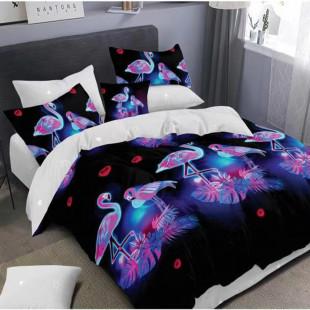 Lenjerie de pat bumbac finet, pentru 2 persoane, cu 6 piese, Ralex Pucioasa - Alexandra