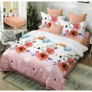 Lenjerie de pat bumbac finet, pentru 2 persoane, cu 6 piese, Ralex Pucioasa - Ofelia