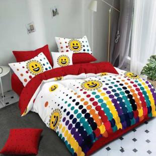 Lenjerie de pat bumbac finet, pentru 2 persoane, cu 6 piese, Ralex Pucioasa - Luana
