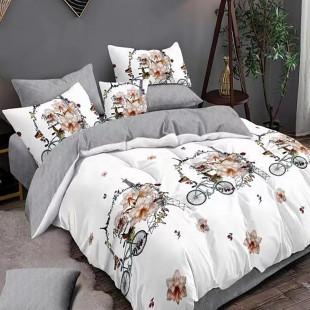 Lenjerie de pat bumbac finet, pentru 2 persoane, cu 6 piese, Ralex Pucioasa - Semida