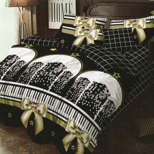 Lenjerie de pat bumbac finet, pentru 2 persoane, cu 6 piese, Ralex Pucioasa - Sorina