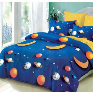 Lenjerie de pat bumbac finet, pentru 2 persoane, cu 6 piese, Ralex Pucioasa - Space