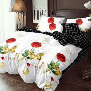 Lenjerie de pat bumbac finet, pentru 2 persoane, cu 6 piese, Ralex Pucioasa Hermina