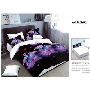 Lenjerie de pat bumbac finet, pentru 2 persoane, cu husa elastica pentru saltea 180x200 cm, 6 piese, Ralex Pucioasa - Alexandra