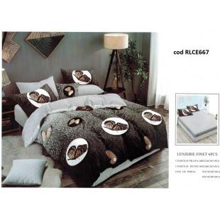 Lenjerie de pat bumbac finet, pentru 2 persoane, cu husa elastica pentru saltea 180x200 cm, 6 piese, Ralex Pucioasa - Alice