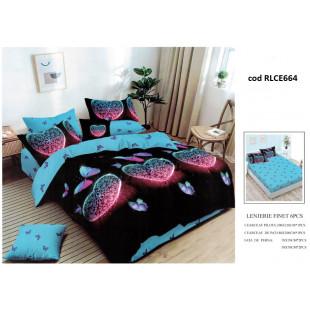 Lenjerie de pat bumbac finet, pentru 2 persoane, cu husa elastica pentru saltea 180x200 cm, 6 piese, Ralex Pucioasa - Camelia