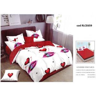 Lenjerie de pat bumbac finet, pentru 2 persoane, cu husa elastica pentru saltea 180x200 cm, 6 piese, Ralex Pucioasa - Caro