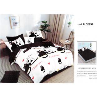 Lenjerie de pat bumbac finet, pentru 2 persoane, cu husa elastica pentru saltea 180x200 cm, 6 piese, Ralex Pucioasa - Cats